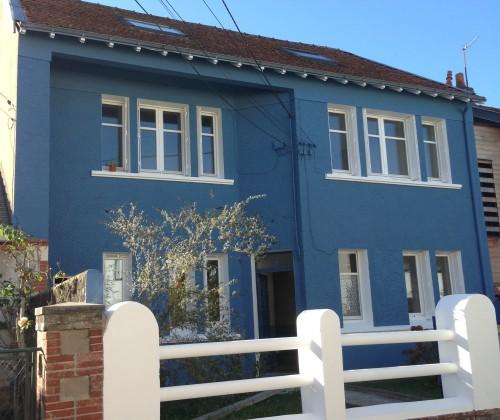 20/11/2014 peinture acrylique hydrofuge 1000 teintes bleu étanchéité facade muret nantes chantenay entreprise david renovation tous droits réservés
