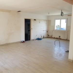 renovation interieure carrelage cloison electricite plomberie platre cuisine