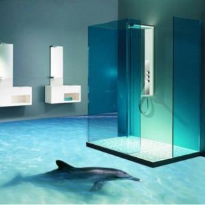 Revêtement sol 3D Salle de bain dauphin douche italienne