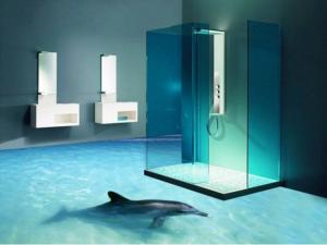 Horizons 3D Revêtement sol 3D Décoration SDB sol dauphins
