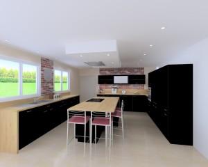 cuisine renovation noir beige ilot central entreprise david renovation immobiliere nantes coueron sautron